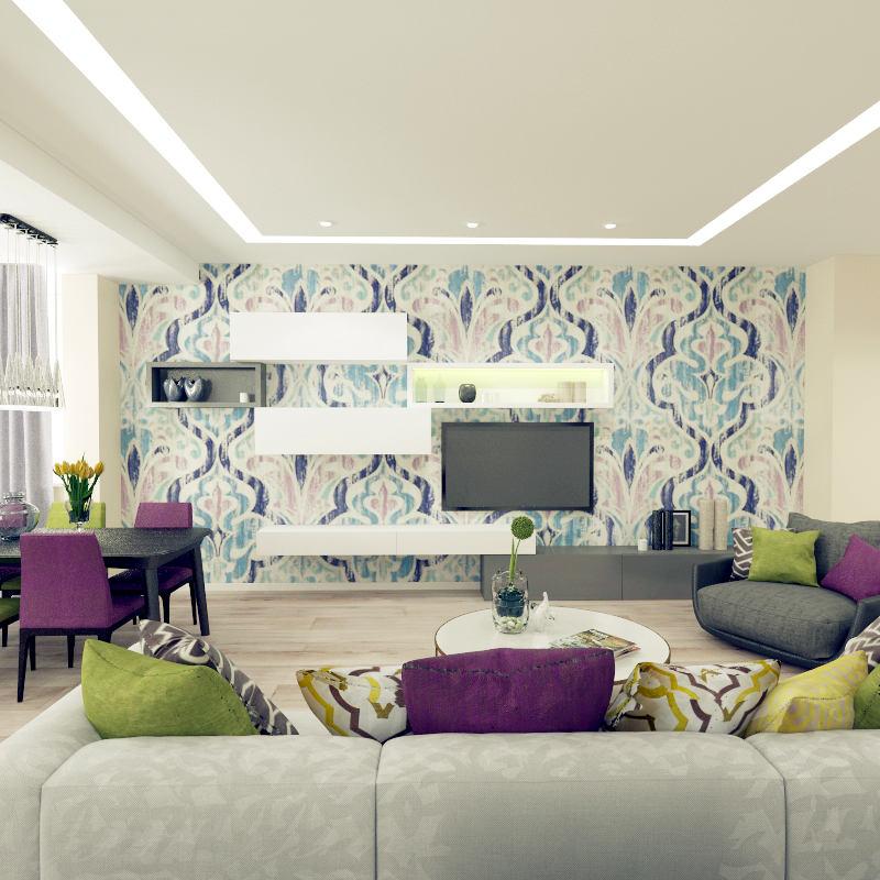 Гостиная, холл в цветах: светло-серый, белый, салатовый, сиреневый, бежевый. Гостиная, холл в стиле минимализм.