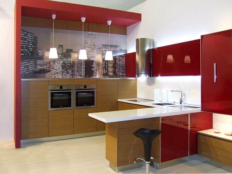 Кухня в цветах: серый, бордовый, темно-коричневый, коричневый. Кухня в .