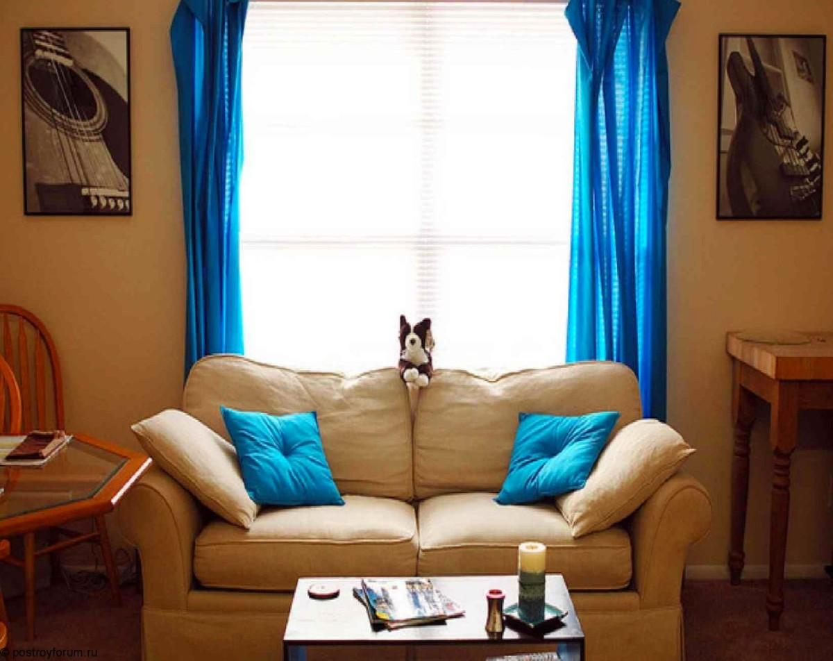 Гостиная, холл в цветах: голубой, коричневый, бежевый. Гостиная, холл в стиле минимализм.
