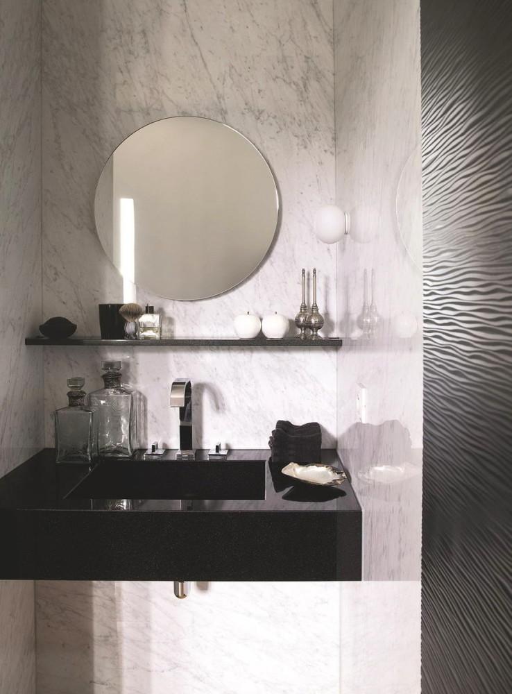 Ванная в цветах: черный, серый, светло-серый, белый. Ванная в стилях: экологический стиль.