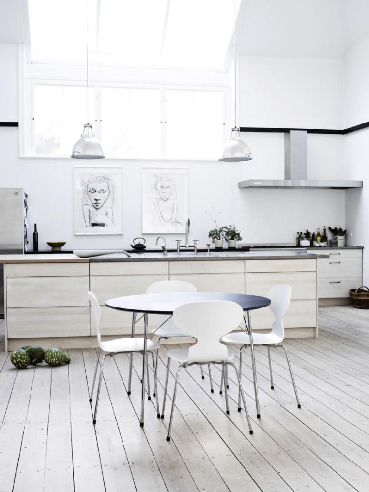 Кухня в цветах: черный, серый, светло-серый. Кухня в стиле скандинавский стиль.