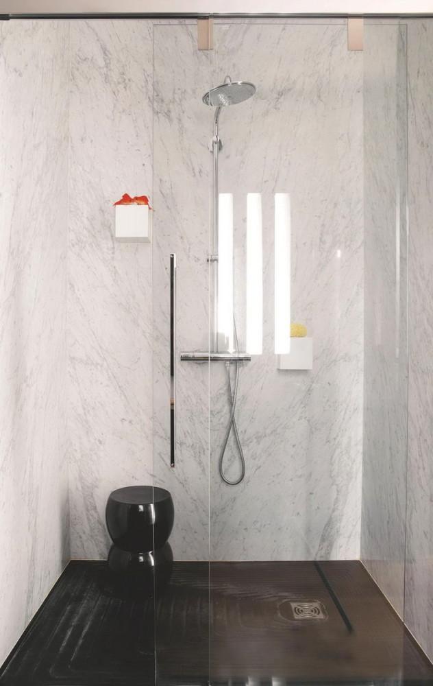 Ванная в цветах: серый, светло-серый, белый. Ванная в стилях: французские стили, лофт.