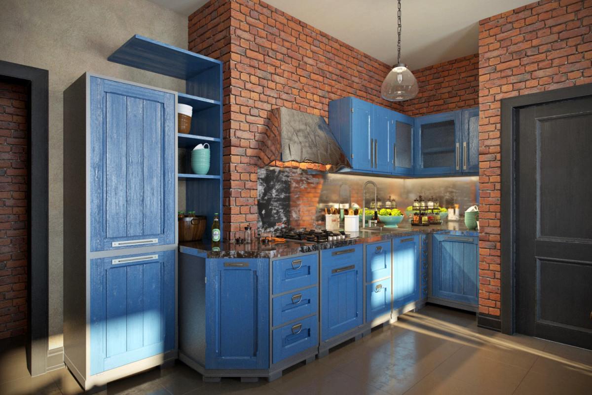 Кухня в цветах: голубой, бирюзовый, черный, серый, коричневый. Кухня в стиле лофт.