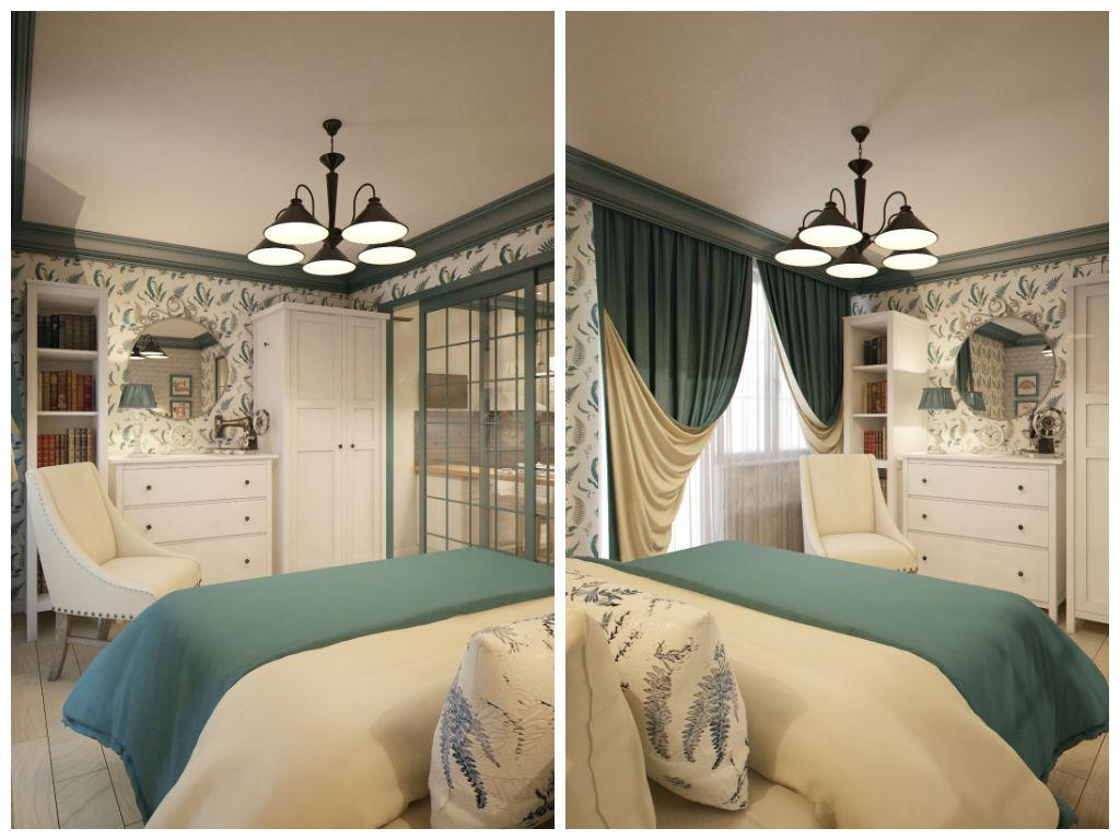 Спальня в цветах: серый, светло-серый, бежевый. Спальня в стиле эклектика.