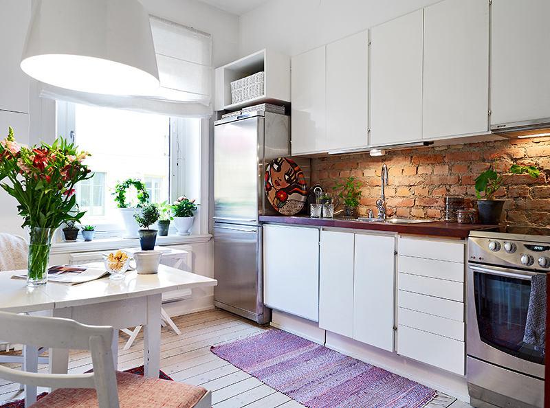 Кухня в цветах: серый, белый, коричневый. Кухня в стиле скандинавский стиль.