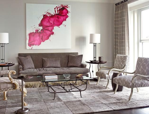 Гостиная, холл в цветах: желтый, серый, светло-серый, белый, розовый. Гостиная, холл в стиле американский стиль.