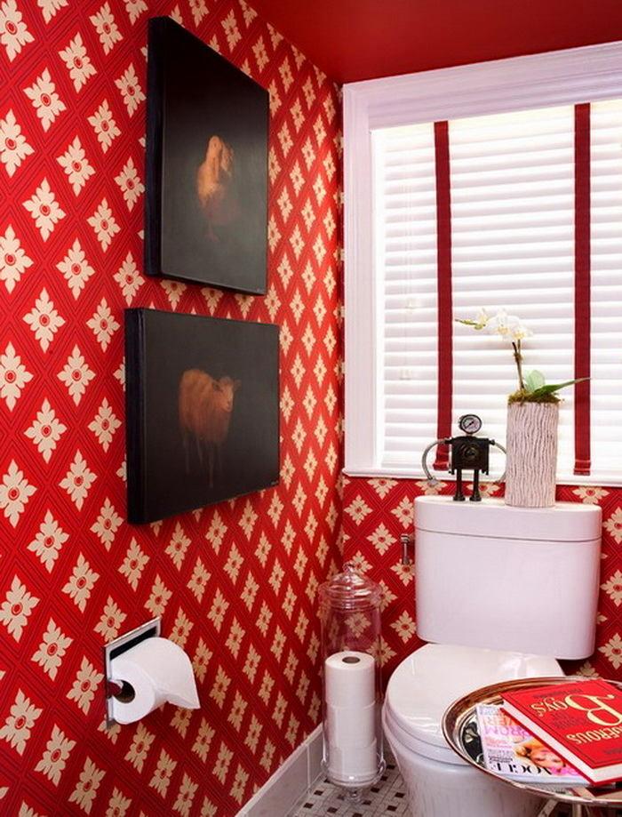 Ванная в цветах: белый, бордовый, темно-коричневый. Ванная в .