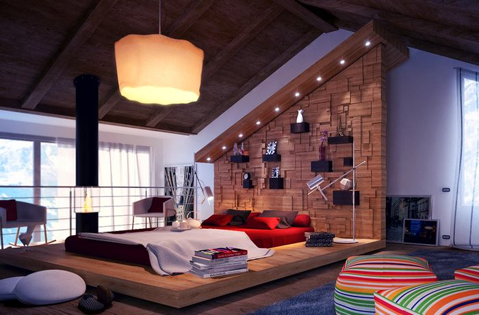 Спальня в цветах: серый, белый, темно-коричневый, коричневый. Спальня в стиле скандинавский стиль.
