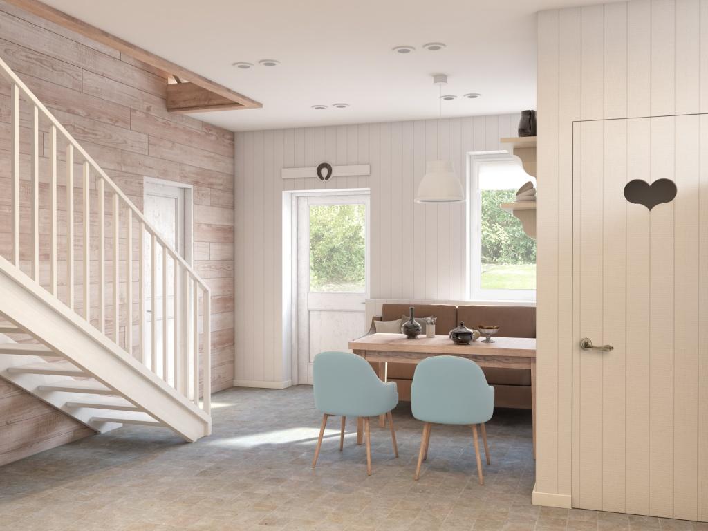 Кухня в цветах: голубой, белый, коричневый, бежевый. Кухня в стилях: экологический стиль, эклектика.