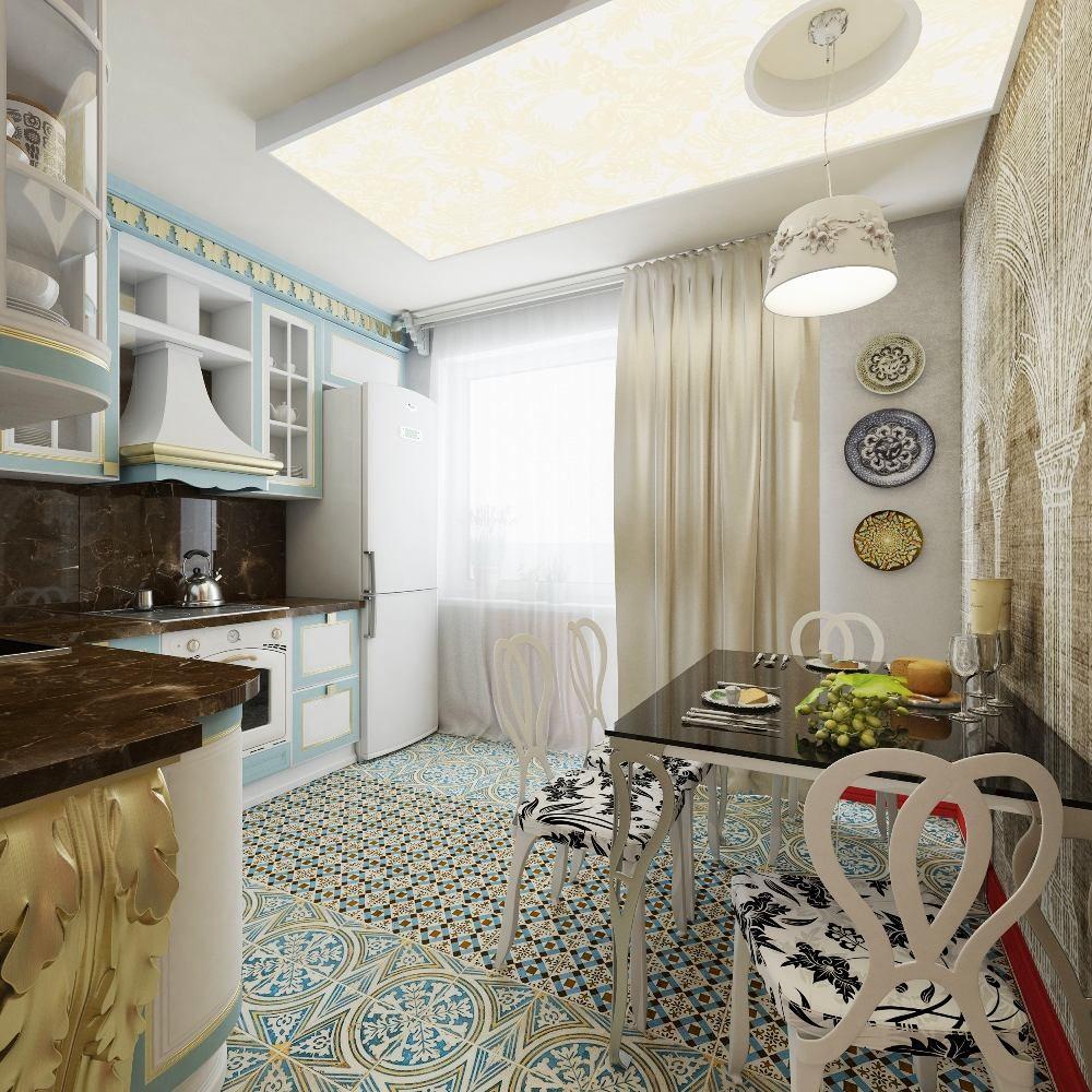 Кухня в цветах: серый, светло-серый, белый, бежевый. Кухня в стилях: арт-деко, ближневосточные стили, эклектика.