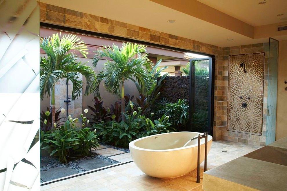 Ванная в цветах: серый, белый, коричневый, бежевый. Ванная в стилях: минимализм, средиземноморский стиль, экологический стиль.