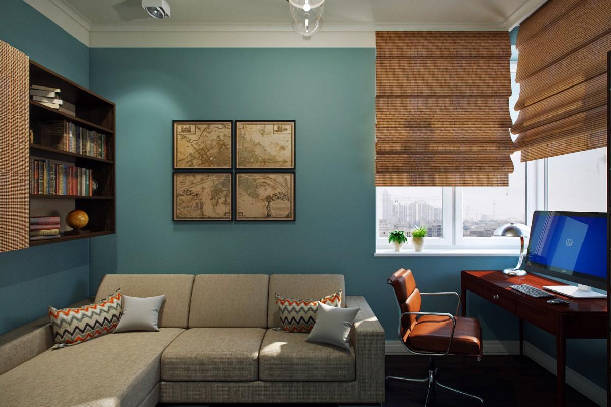 Мебель и предметы интерьера в цветах: бирюзовый, серый, светло-серый, темно-коричневый, коричневый. Мебель и предметы интерьера в стиле минимализм.