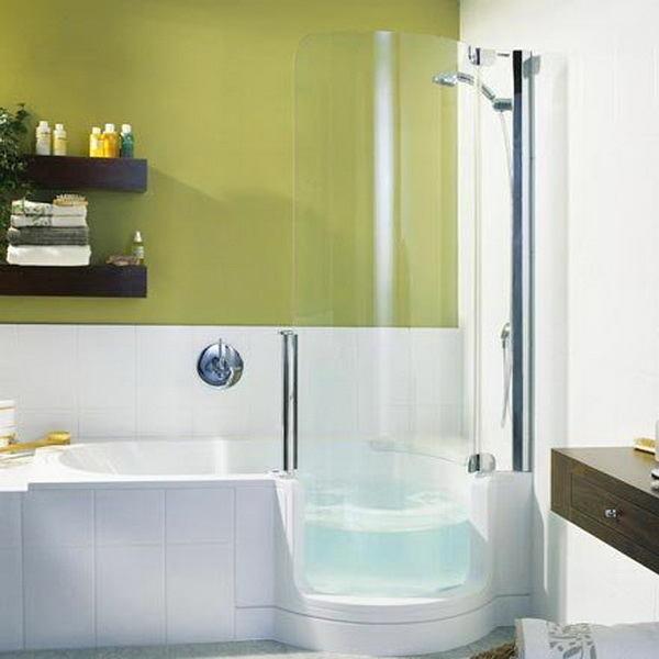 Ванная в цветах: светло-серый, белый, салатовый, бежевый. Ванная в .