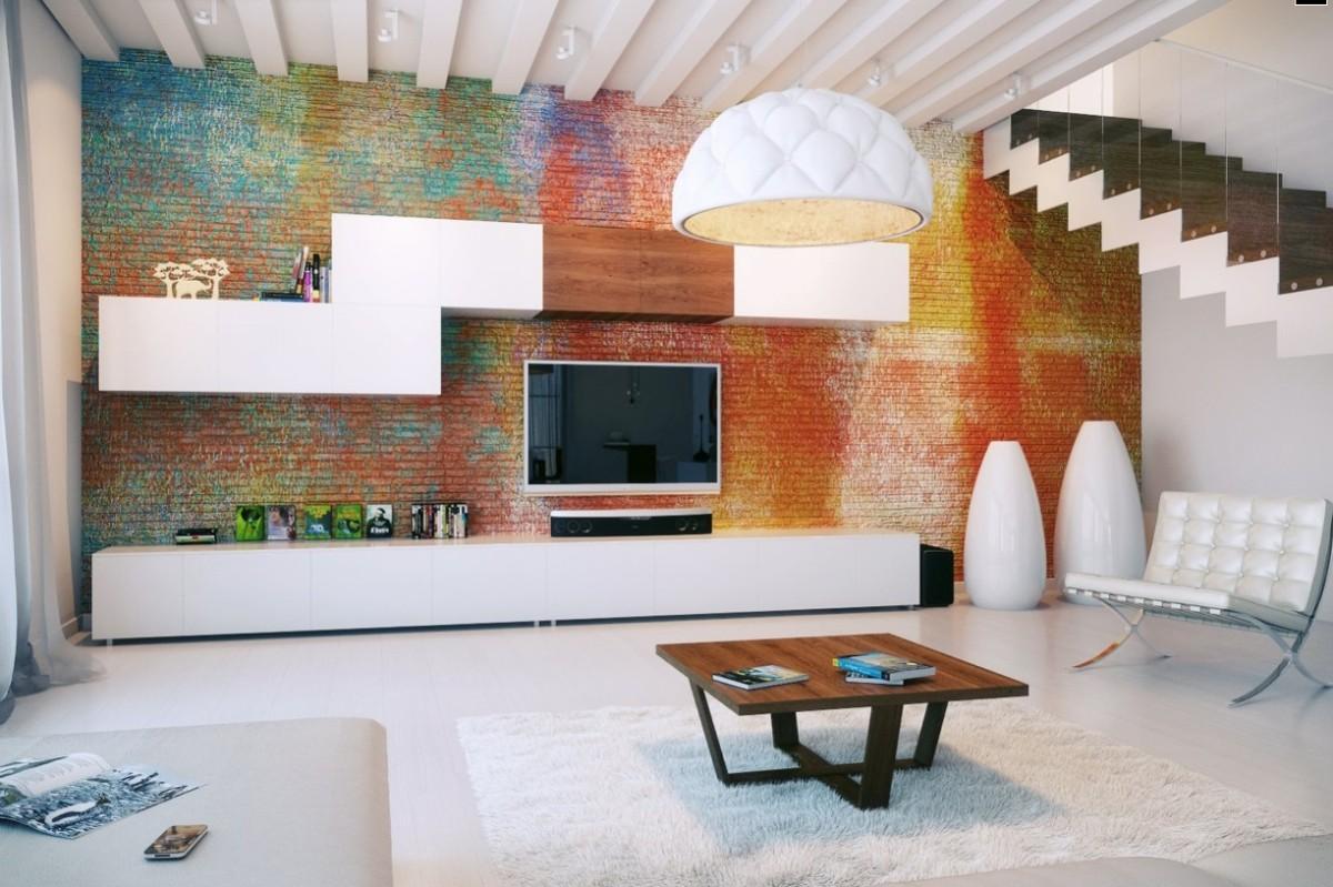 Гостиная в  цветах:   Бежевый, Коричневый, Светло-серый, Серый.  Гостиная в  стиле:   Лофт.