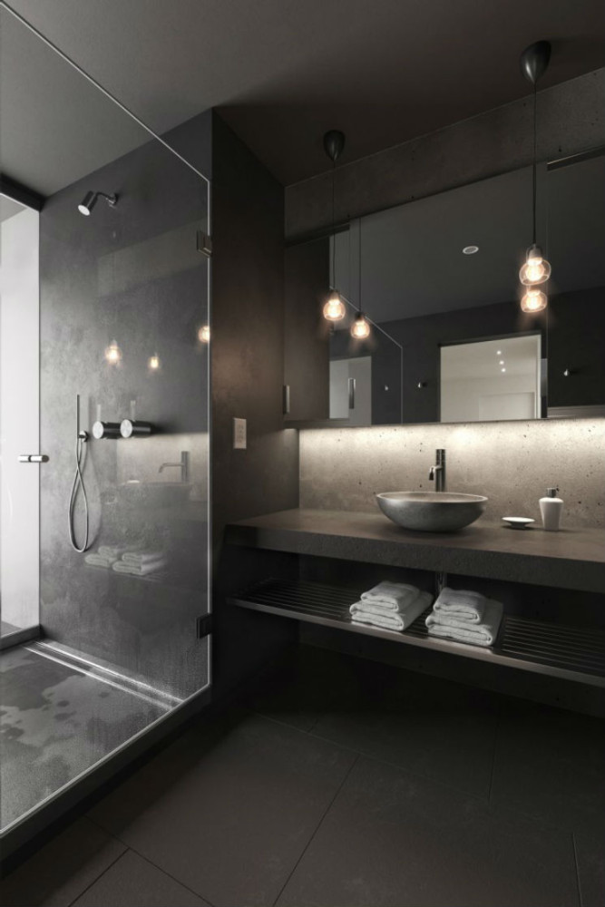 Ванная в  цветах:   Светло-серый, Серый, Темно-коричневый, Черный.  Ванная в  стиле:   Минимализм.