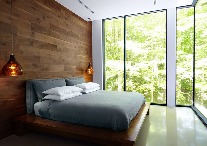 Спальня в  цветах:   Белый, Коричневый, Светло-серый, Темно-коричневый, Черный.  Спальня в  стиле:   Минимализм.