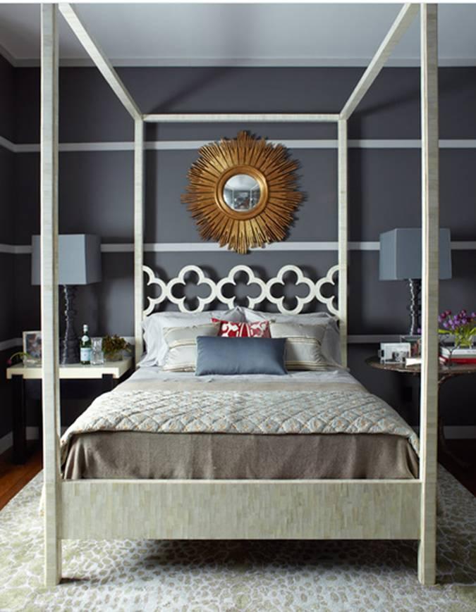 Спальня в  цветах:   Бежевый, Светло-серый, Серый, Синий, Черный.  Спальня в  стиле:   Эклектика.