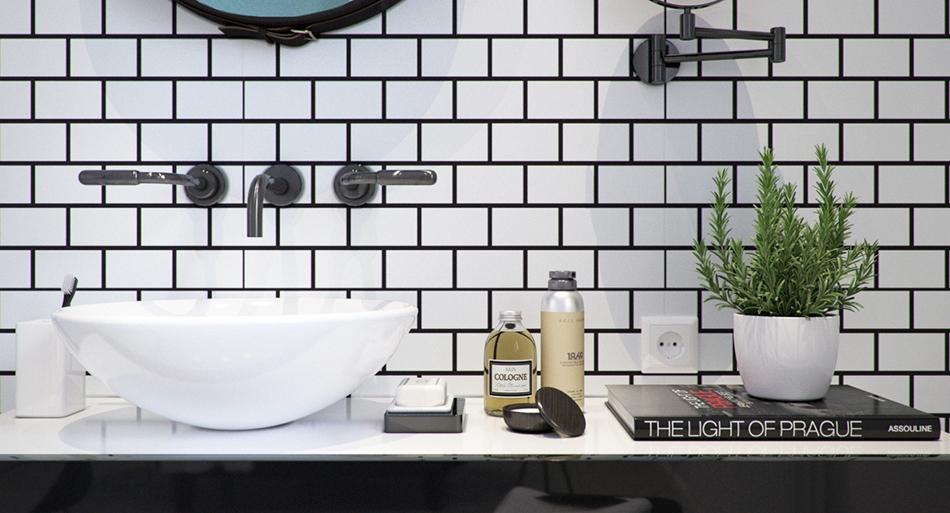 Ванная в  цветах:   Белый, Светло-серый, Серый, Черный.  Ванная в  стиле:   Скандинавский.