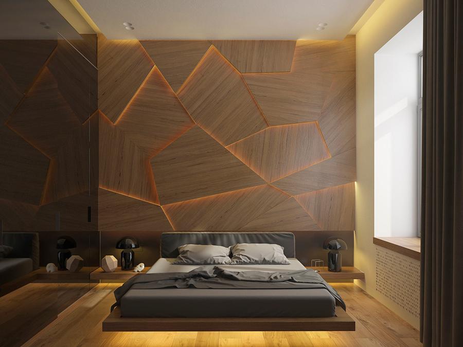 Спальня в  цветах:   Бежевый, Коричневый, Светло-серый, Темно-коричневый, Черный.  Спальня в  стиле:   Минимализм.
