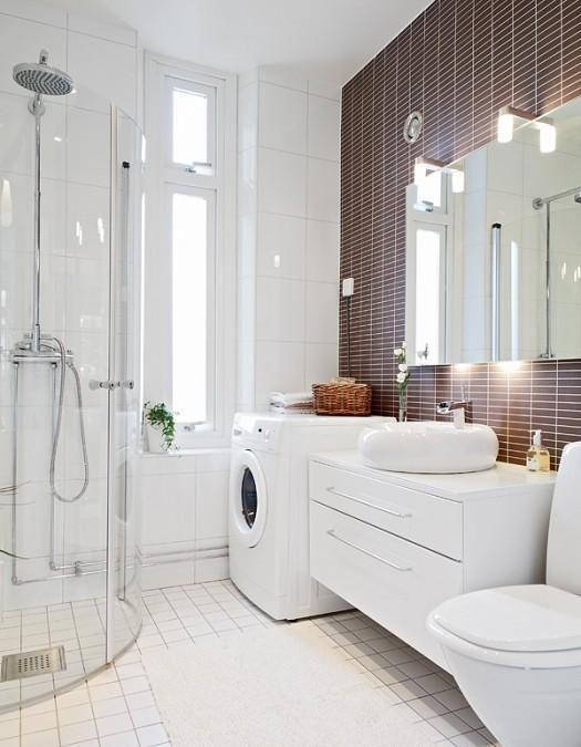 Ванная в  цветах:   Светло-серый, Серый, Темно-коричневый.  Ванная в  стиле:   Минимализм.