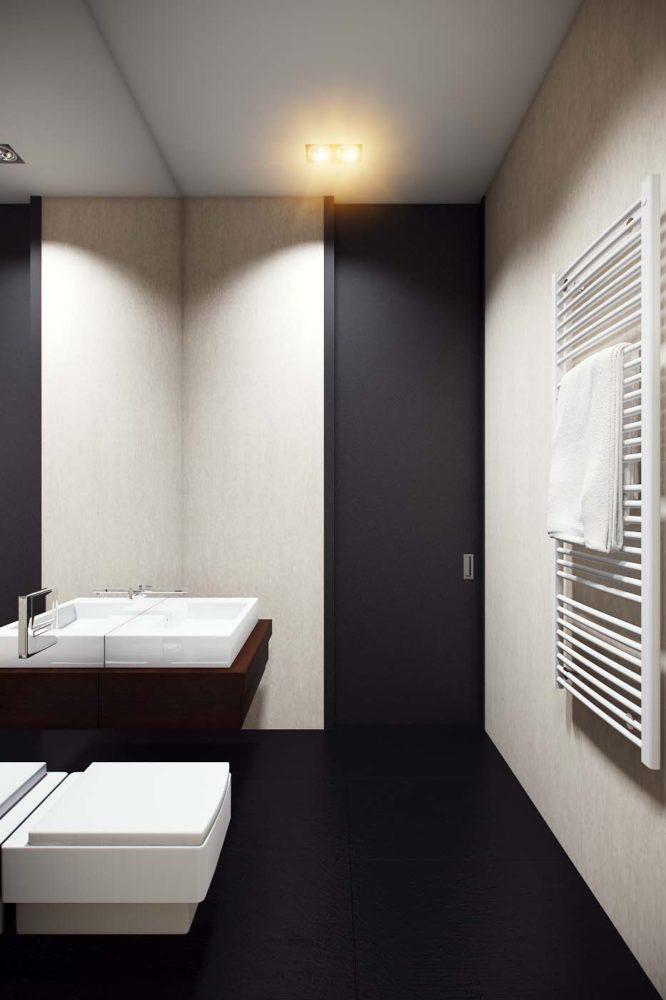 Ванная в  цветах:   Бежевый, Белый, Светло-серый, Серый, Черный.  Ванная в  стиле:   Минимализм.
