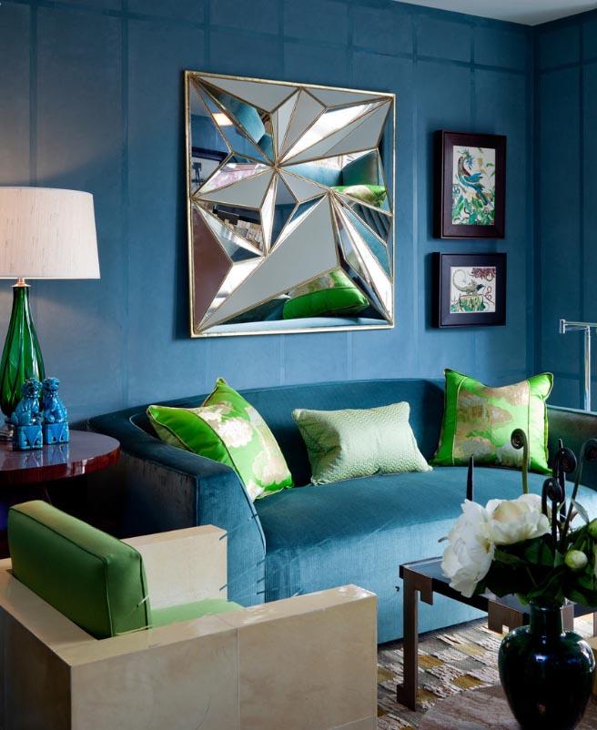 Гостиная в  цветах:   Бирюзовый, Светло-серый, Серый, Синий, Черный.  Гостиная в  стиле:   Эклектика.