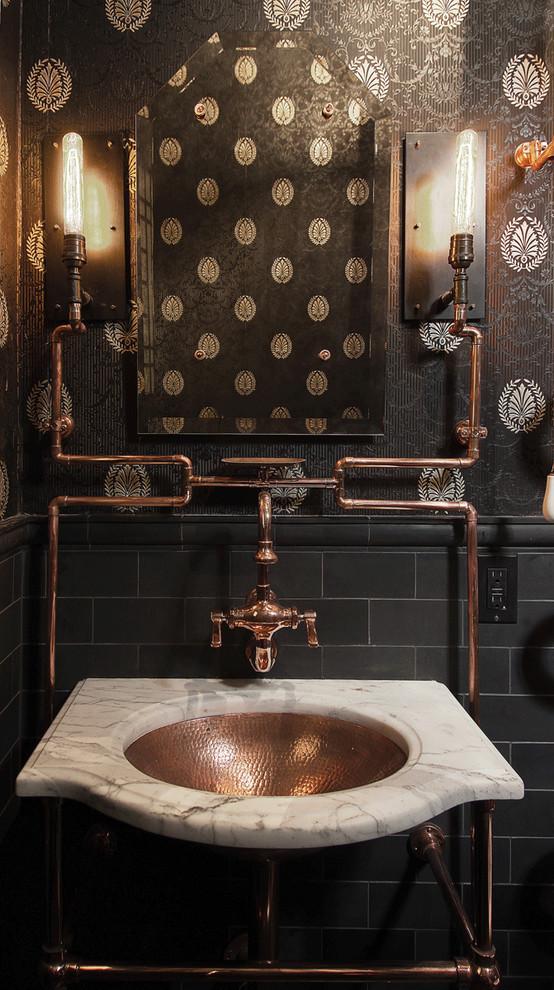 Ванная в  цветах:   Бежевый, Коричневый, Светло-серый, Темно-коричневый, Черный.  Ванная в  стиле:   Лофт.