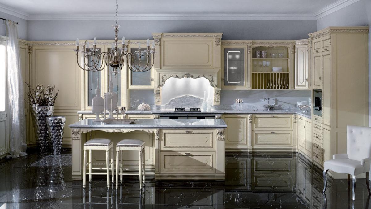 Кухня/столовая в  цветах:   Бежевый, Светло-серый, Серый, Черный.  Кухня/столовая в  стиле:   Классика.