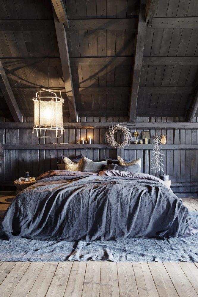 Спальня в  цветах:   Светло-серый, Серый, Темно-коричневый, Черный.  Спальня в  стиле:   Скандинавский.