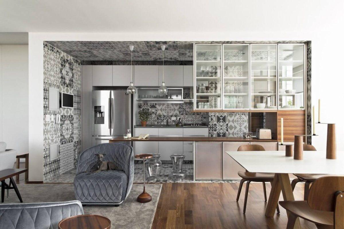 Кухня/столовая в  цветах:   Бежевый, Белый, Светло-серый, Серый, Темно-коричневый.  Кухня/столовая в  стиле:   Минимализм.