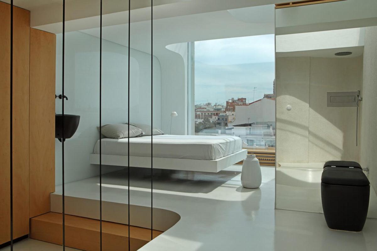 Спальня в  цветах:   Бежевый, Коричневый, Светло-серый, Серый, Черный.  Спальня в  стиле:   Минимализм.