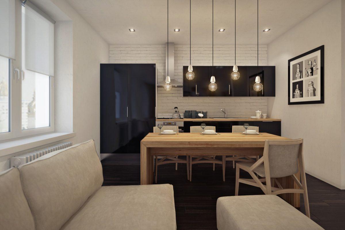 Кухня/столовая в  цветах:   Светло-серый, Серый, Черный, Темно-коричневый, Бежевый.  Кухня/столовая в  стиле:   Минимализм.