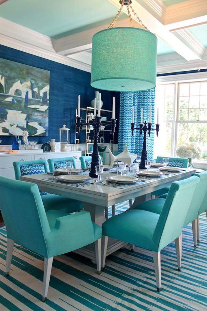 Кухня/столовая в  цветах:   Бирюзовый, Голубой, Светло-серый, Серый, Синий.  Кухня/столовая в  стиле:   Неоклассика.