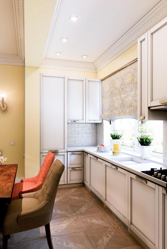 Кухня/столовая в  цветах:   Бежевый, Белый, Коричневый, Светло-серый.  Кухня/столовая в  стиле:   Неоклассика.