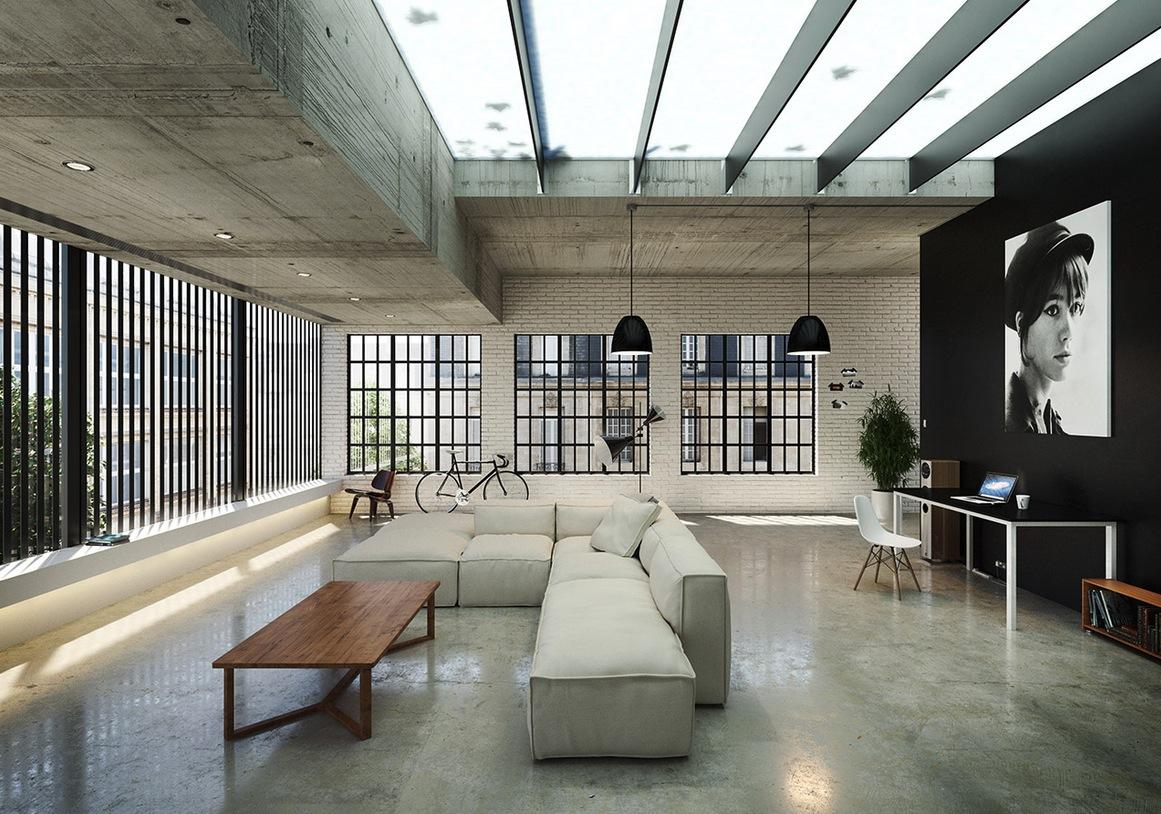 Гостиная в  цветах:   Бежевый, Белый, Светло-серый, Серый, Черный.  Гостиная в  стиле:   Лофт.