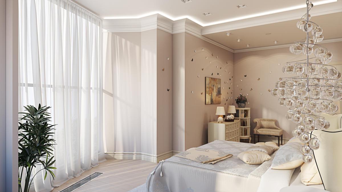 Спальня в  цветах:   Бежевый, Белый, Светло-серый, Серый.  Спальня в  стиле:   Неоклассика.