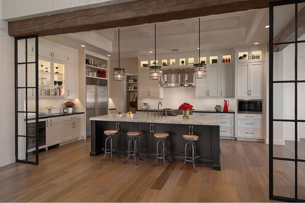 Кухня/столовая в  цветах:   Бежевый, Коричневый, Светло-серый, Серый, Темно-коричневый.  Кухня/столовая в  стиле:   Американский стиль.