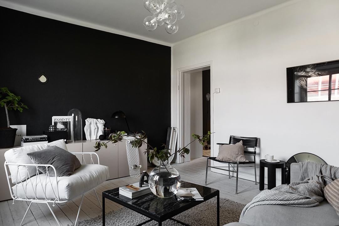 Гостиная в  цветах:   Бежевый, Светло-серый, Серый, Черный.  Гостиная в  стиле:   Скандинавский.