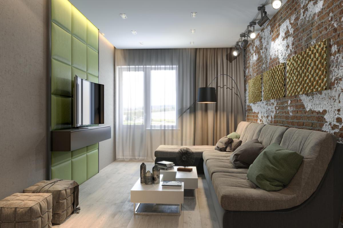 Гостиная в  цветах:   Бежевый, Светло-серый, Серый, Темно-коричневый, Черный.  Гостиная в  стиле:   Минимализм.