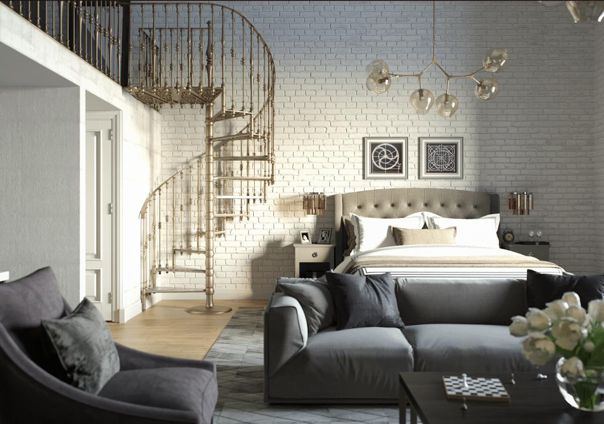 Спальня в  цветах:   Бежевый, Белый, Светло-серый, Серый, Черный.  Спальня в  стиле:   Лофт.