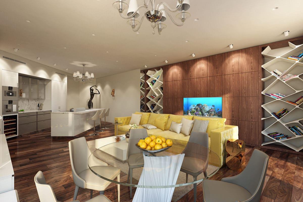 Современный минимализм: квартира в «Алых парусах» площадью 196 квадратных метров