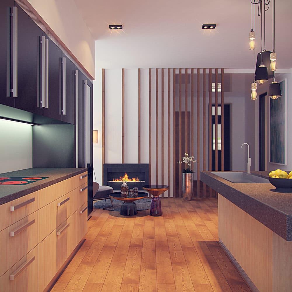 Кухня/столовая в  цветах:   Бежевый, Оранжевый, Светло-серый, Серый, Фиолетовый.  Кухня/столовая в  стиле:   Минимализм.