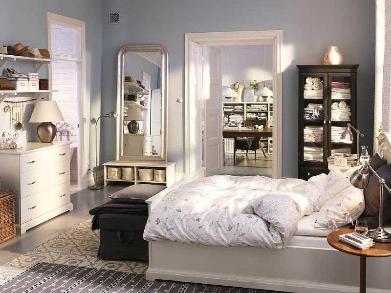 Спальня в  цветах:   Бежевый, Белый, Светло-серый, Серый, Черный.  Спальня в  стиле:   Скандинавский.