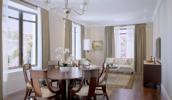 Кухня/столовая в  цветах:   Бежевый, Светло-серый, Серый, Темно-коричневый, Черный.  Кухня/столовая в  стиле:   Неоклассика.