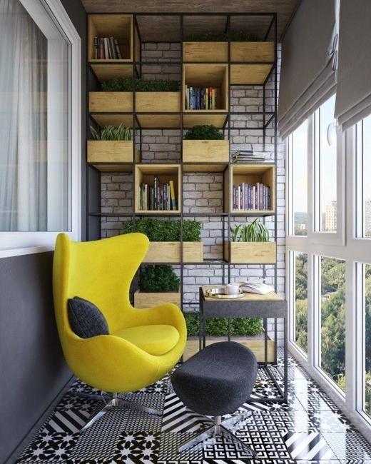 Балкон в  цветах:   Бежевый, Светло-серый, Серый, Темно-коричневый, Черный.  Балкон в  стиле:   Скандинавский.