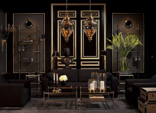 Гостиная в  цветах:   Бежевый, Темно-коричневый, Черный.  Гостиная в  стиле:   Арт-деко.