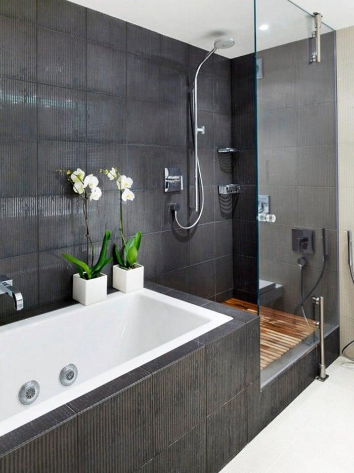 Ванная в  цветах:   Белый, Светло-серый, Серый, Черный.  Ванная в  стиле:   Минимализм.