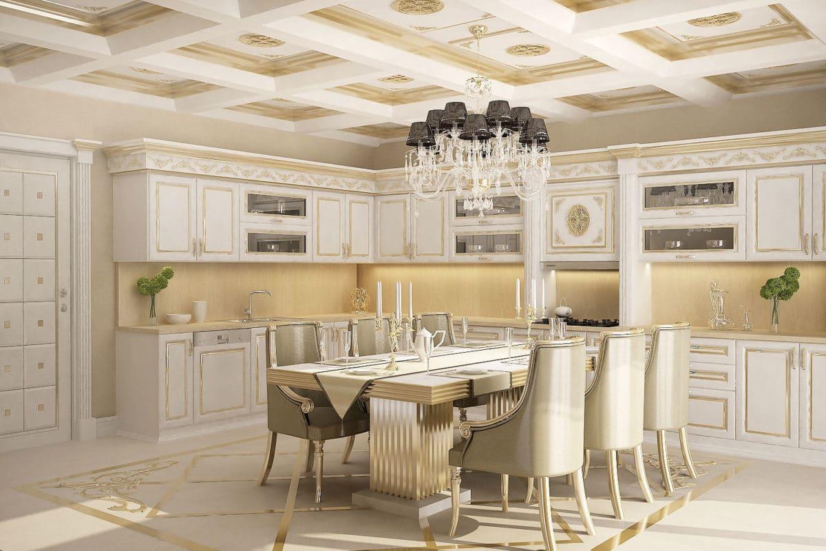 Кухня/столовая в  цветах:   Бежевый, Светло-серый.  Кухня/столовая в  стиле:   Неоклассика.