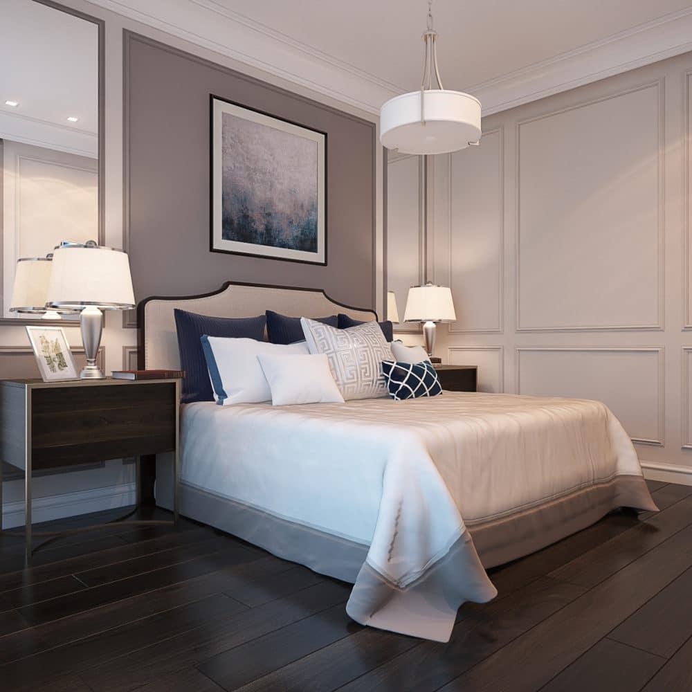 Спальня в  цветах:   Бежевый, Светло-серый, Серый, Темно-коричневый, Черный.  Спальня в  стиле:   Неоклассика.