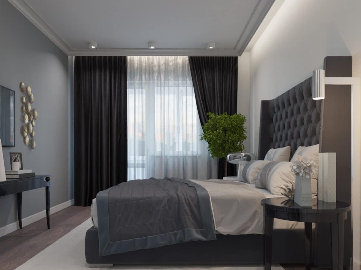 Спальня в  цветах:   Бежевый, Светло-серый, Серый, Черный.  Спальня в  стиле:   Неоклассика.